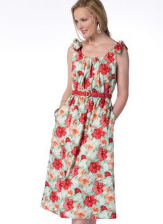 New sundress sewing pattern from Butterick. B6344 Misses' Gathered Dresses with Shoulder Ties