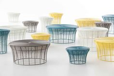 Nendo offers us its delicate, essential design. A very practical collection of multipurpose tables and stools you will never tire of looking at. This season in a new colour.  The new ARAM collection colors, tables and stools by NENDO for GAN, GANDIABLASCO's textile brand