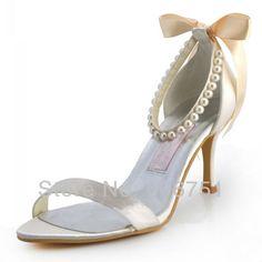 champagne personalizado feitos de cetim mulheres sandálias de salto alto para casamento e noivas verão sapatos bombas branco pérola marfim laço sapatos de festa 79.44