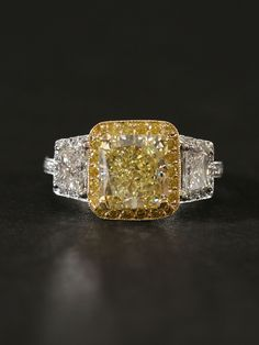 Fancy Yellow Diamond Ring - London Collection Platinum and 18KT Fancy Yellow Diamond Engagement Ring