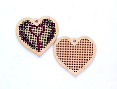 Kit DIY - corazón de San Valentín Cruz ornamento de puntada en blanco caseros de…