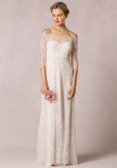 Floor length ivory lace off-the-shoulder A-line dress | Jenny Yoo Collection: Candela | http://knot.ly/6496Bt5XK