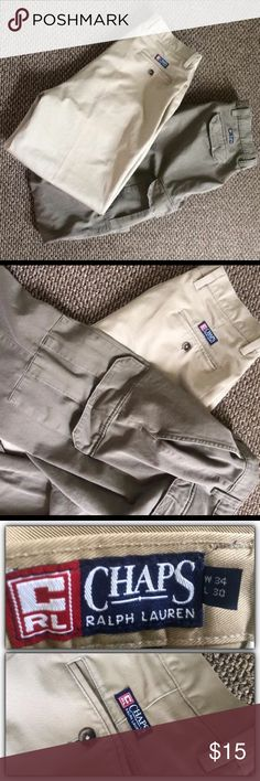 Bundle! Two pairs Ralph Lauren men's pants. 34X30 One is cargo and one is straight front style. Both in excellent condition. Chaps Pants Chinos & Khakis