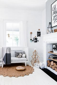 White nursery with grey accents and lots of natural textures