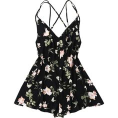Back Crossed Printed Romper ($15) ❤ liked on Polyvore featuring jumpsuits, rompers, playsuit romper, jump suit, playsuit jumpsuit and romper jumpsuit