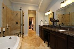 Travertine Master Bath, Using a balance of cool colors here with the warm neutrals of wall to wall travertine and expresso cabinetry.  similar color scheme as our bathroom.