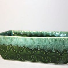 On Sale 1960s California Pottery Turquoise and Green Dripware Footed Rectangular Planter or Flower Pot P 12
