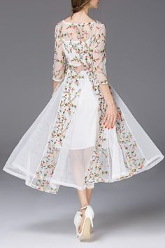 Lady Eyes White Flower Embroidered See Through Swing Dress | Midi Dresses at DEZZAL