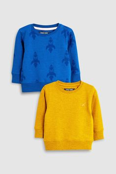 Buy Blue/Yellow Rocket Crews Two Pack from the Next UK online shop Fashion Days, Kids Fashion, Latest Fashion For Women, Womens Fashion, Online Clothing Stores, Next Uk, Blue Yellow, Boy Outfits, Pullover