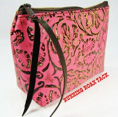 Pink Cowboy Print Leather Medium Makeup Bag by Running Roan Tack