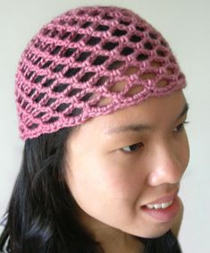crochet mesh lace beanie: trying to find something light to cover my while growing it out...
