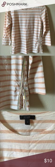 J. Crew nude nautical tee J. Crew 3/4 sleeve sequin side panel Stripe tee. Really cute and simple. No stains and no sequins missing. Good, gently worn condition. Size XS fits true. No trades but offers welcomed!  **EVERYTHING I SELL IS IN FAIR TO GREAT CONDITION.I WILL ALWAYS SPECIFY ANY WEAR/TEAR.MY PRICES ARE SO LOW BECAUSE I AM A STAY AT HOME MOM & AM TRYING TO MAKE EXTRA INCOME TO SUPPORT MY LITTLE FAMILY!THANKS FOR CONTRIBUTING TO MY DREAM OF BEING A FULL TIME MOMMY! J. Crew Tops Tees…