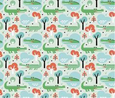 Spoonflower's Colorful Crocodile Zoo Adventure door Spoonflower