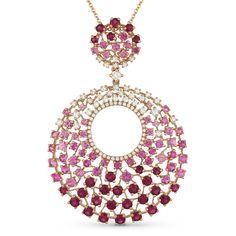 3.02ct Round Cut Pink Sapphire & Diamond Statement Pendant & Chain Necklace in 14k Rose Gold - AlfredAndVincent.com
