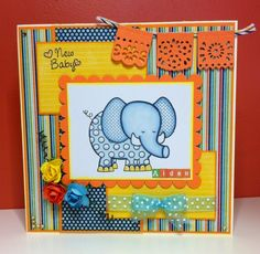 Recollection's Elephant with Echo Park papers new baby card.