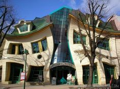 The Krzywy Domek is an irregularly-shaped building in Sopot, Poland;  its name translates to English as 'the Crooked House;'  built in 2004;  approximately 4,000 square meters