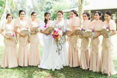 bridal entourage filipiniana wedding bridesmaids Newest Modern Filipiniana Gown, Filipiniana Wedding Theme, Barong Wedding, Barong Tagalog Wedding, Wedding Entourage Gowns, Wedding Gowns, Wedding Themes, Wedding Colors, Wedding Ideas