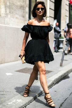 1 Le Fashion 31 Stylish Ways To Wear An Off The Shoulder Look Black Dress Street Style Miroslava Duma Via Vogue Russia