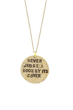 """Never Judge A Book"" Necklace"