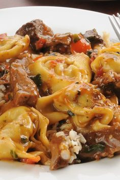 Tortellini With Butternut Squash, Mushrooms, and Fontina Recipe  <3