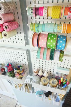 Craft Room Organization Ideas - Metal Slat Wall Pack - DIY Dollar Store Projects for Crafts - Budget Ways to Declutter While Organizing Supplies - Shelves, IKEA Hacks, Small Space Ideas Sewing Room Design, Craft Room Design, Craft Room Decor, Sewing Rooms, Craft Rooms, Ribbon Organization, Ribbon Storage, Craft Organization, Diy Storage