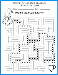 How the Grinch Stole Christmas Maze Puzzle Worksheet More