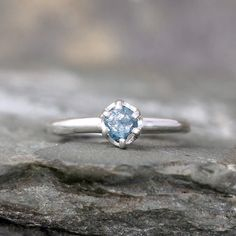 Raw Blue Diamond Engagement Ring  Conflict Free  by ASecondTime