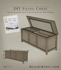 DIY Filing Chest - Our home office is a small space, and our tall, boxy filing cabinet always made it feel extra crowded. To create a solution that didn't sacri. Home Office Storage, Home Office Organization, Home Office Design, Home Office Decor, Diy Home Decor, Office Ideas, Office In Bedroom Ideas, Woodworking For Kids, Woodworking Tools