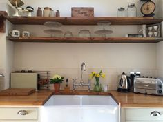 Kitchen scaff board shelves
