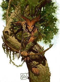 Creepy and cool Wilder stalking in the canopy. Great colors and depth make this 3 dimensional. Fantasy Forest, High Fantasy, Fantasy Rpg, Fantasy Artwork, Nature Spirits, Fantasy Kunst, Magic Art, Character Design Inspiration, Fantasy Creatures