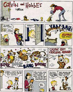 Calvin and Hobbes are crashing around