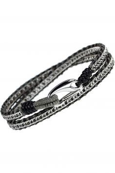 NEWONE-SHOP.COM Beaded Jewelry, Personalized Items, Handmade, Diy, Schmuck, Stainless Steel, Wristlets, Grey, Leather