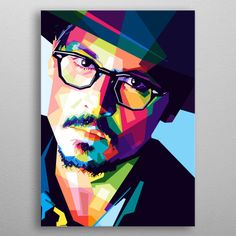Johnny Depp Popart Style poster by from collection. Pop Art Portraits, Portrait Art, Diy Canvas Art, Canvas Art Prints, Monochromatic Art, Pop Art Artists, Abstract Face Art, Polygon Art, Pop Art Posters