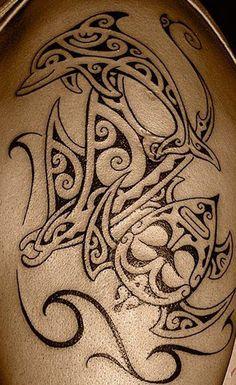 Ray Manta and a Dolphin - 40 Lovely Dolphin Tattoos and Meanings ♥ ♥ maori tattoo - maori tattoo wom Maori Tattoos, Tribal Tattoos, Hawaiianisches Tattoo, Tattoos Arm Mann, Ocean Tattoos, Maori Tattoo Designs, Marquesan Tattoos, Irezumi Tattoos, Tattoo Motive