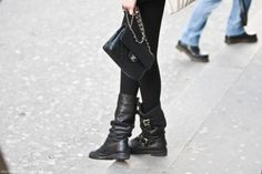 Chanel + biker boots.