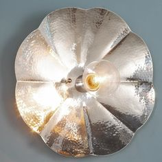 Hammered Nickel Petal Center Socket Sconce