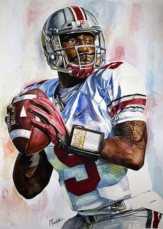 This is a Braxton Miller Ohio State Buckeyes watercolor painting i did for a birthday gift this past year. Can't wait for the next OSU i'm commissioned. Buckeyes Football, Football Art, Ohio State Football, Ohio State University, Ohio State Buckeyes, American Football, Football Helmets, College Football, Sports Images