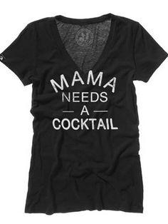 "Women's ""Mama Needs a Cocktail"" V-Neck Tee by Badcock Jones (Black)"