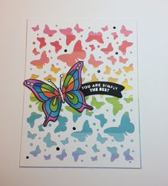 Made using the April 2018 Simon Says Stamp card kit and Hero Arts Butterfly Confetti background die.