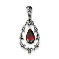 Sterling Silver Red CZ & Marcasite Antiqued Teardrop Pendant – Goldia.com