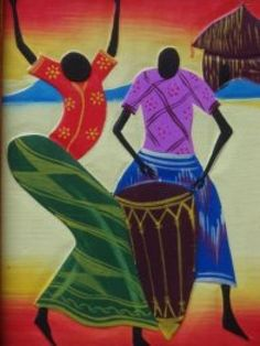 Carved P African female dancer& male drummer African Dance, African Paintings, Africa Art, Black Artists, Native Art, Fabric Painting, Indian Art, Art Google, Retro