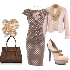feminine, polka-dot-dress, brown, pink