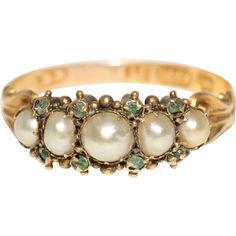 Antique Early Victorian Natural Pearl And Emerald Half Hoop Ring Circa 1840 Old Jewelry, Pearl Jewelry, Antique Jewelry, Jewelry Gifts, Jewelery, Vintage Jewelry, Jewelry Accessories, Copper Jewelry, Victorian Jewelry