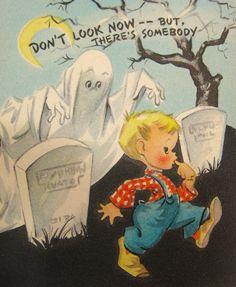 Cute vintage Halloween card. #ghosts #graveyard #Halloween