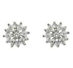 Natsu Marquise Flower Cluster CZ Stud Earrings | Cubic Zirconia | Silver