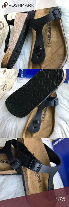 BNWT Birkenstock Gizeh 39 Brand new with tags & box. Box might not be in perfect shape due to handling. Classic black Gizeh.  Sz 39 regular width Please know your size in Birks before ordering. I can only guarantee I will be sending the European size stated on the listing. All items are inspected throughly and filmed before shipment.  Please note I am on vacation  & this item ships August 15th . price is Firm    Thanks! Birkenstock Shoes Sandals