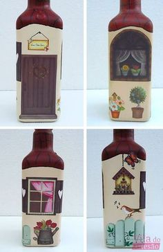 Colored Glass Bottles, Glass Bottle Crafts, Wine Bottle Art, Painted Wine Bottles, Bottles And Jars, Kalash Decoration, Decoupage Jars, Recycled Bottles, Bottle Painting