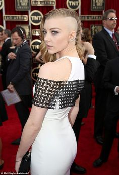 Buzz cut! Natalie Dormer arrives at the 20th annual Screen Actors Guild Awards at the Shrine Auditorium on Saturday, January with a half-sha...