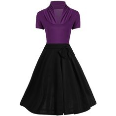 Vintage Ruched Bowknot Design Two Tone Dress ($19) ❤ liked on Polyvore featuring dresses, rouched dress, gathered dress, ruched dress, shirred dress and ruching dress