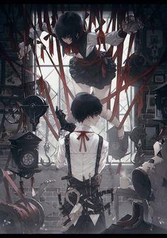 Anime, art, and dark image Anime Love, Anime Guys, Sad Anime, Anime Demon, Bonbons Vintage, Manga Art, Manga Anime, Anime Negra, Persona Anime
